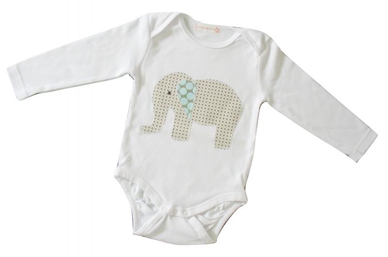 Kleinesbild - Gr: 86    Baby - Body mit Elefant - Retro