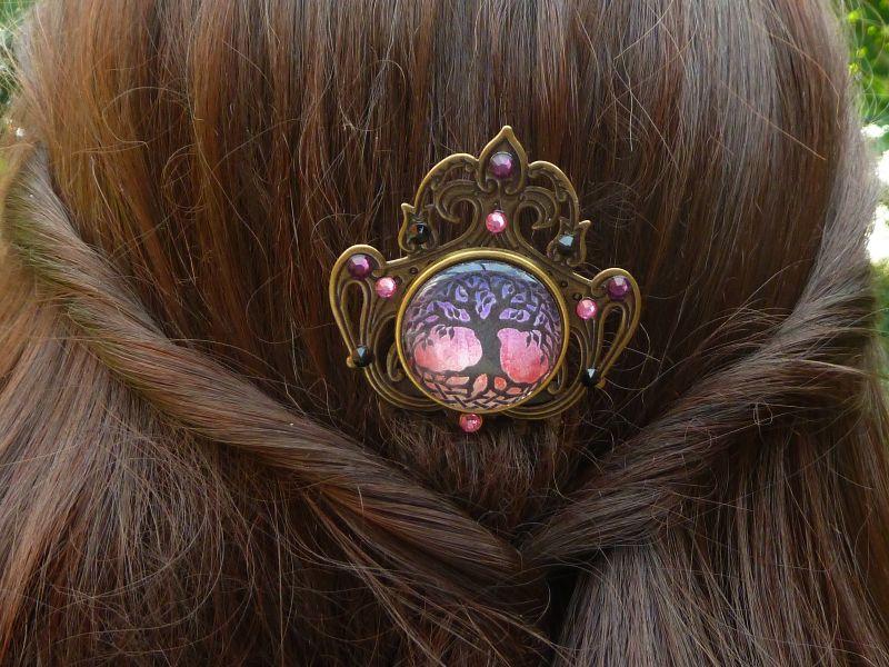Kleinesbild - Edler Irland Haarkamm mit Baum Motiv rosa bronzefarben Mädchen Haarschmuck Geschenkidee