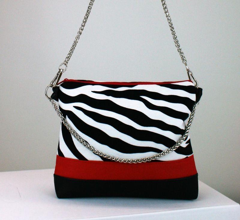 Kleinesbild - Handtasche ♥ Zebra Red ♥ Designertasche Clubtasche Citybag Umhängetasche
