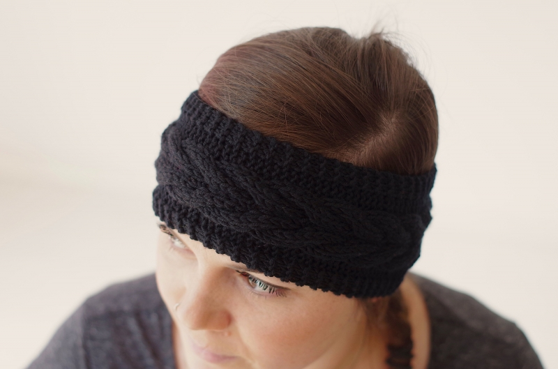 Stirnbänder : Stirnband mit Zopfmuster - Schwarz - in Handarbeit ...