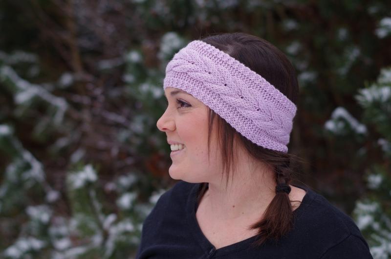 Kopfbedeckung : Stirnband mit Zopfmuster - Altrosa - in Handarbeit ...
