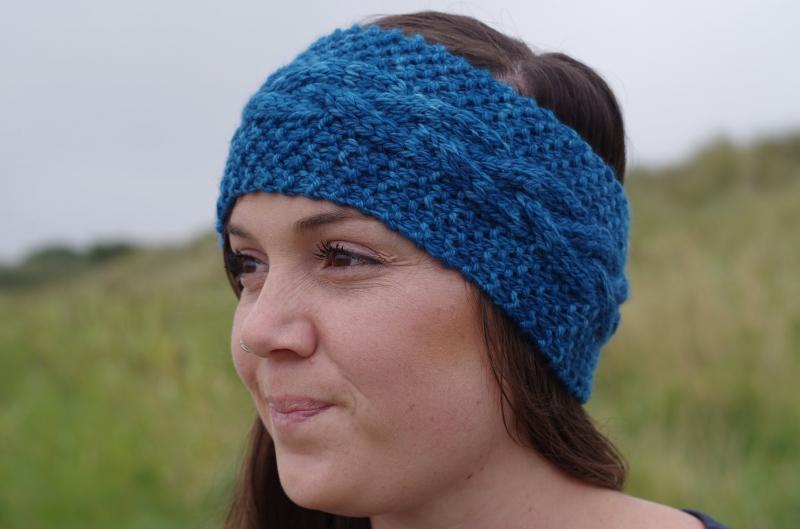 Stirnbänder : Stirnband Chunky mit Zopfmuster - Blau - in Handarbeit ...