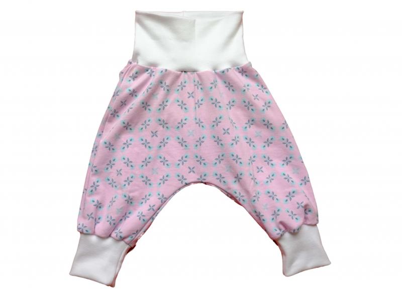 Kleinesbild - Babyhose Pumphose Mitwachshose Gr. 68 rosa-türkis
