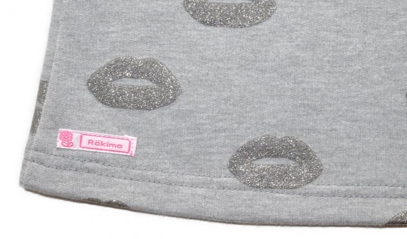 Kleinesbild - Tunika mit Kapuze Gr. 110/116 Sweat hellgrau mit Glitzer-Lippen