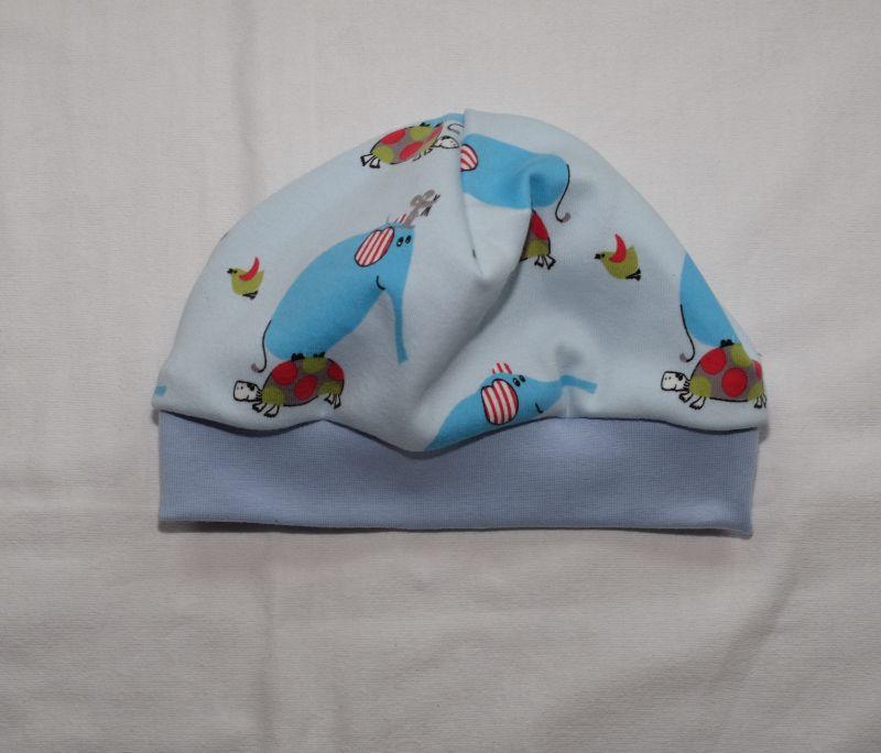 Kleinesbild - Babymütze Beanie aus Jersey hellblau mit Elefanten