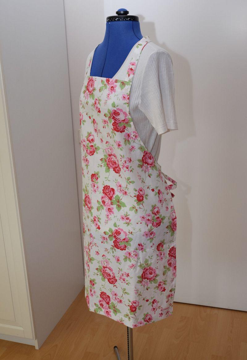 Kleinesbild - Backschürze Kochschürze Baumwolle weiß mit Rosenmuster