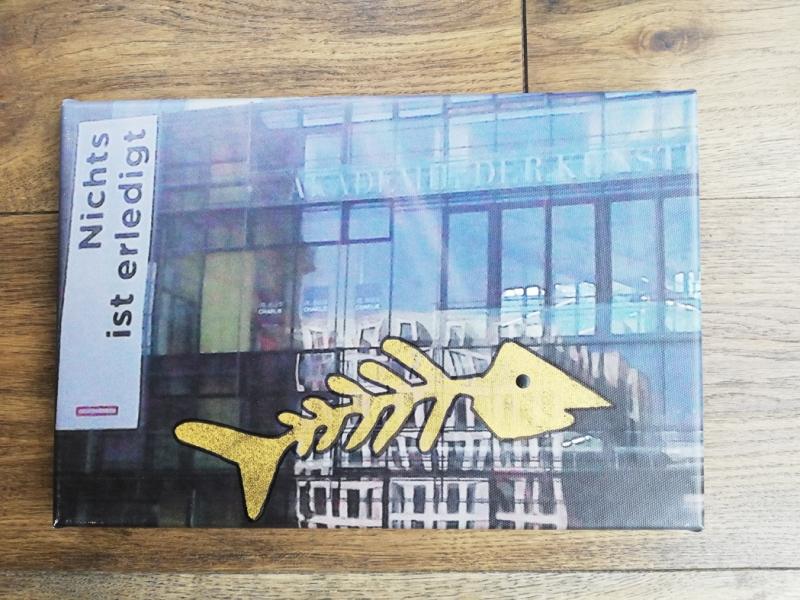 Kleinesbild - tolles Bild Foto auf Leinwand mit Sinnspruch, fotografiert und mit Farbe gepuscht, Fisch, gold
