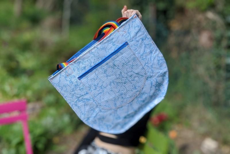 Kleinesbild - Sporttasche Pooltasche Strandtasche Badetasche (Kopie id: 100200924) Pooltasche, Strandtasche, Recycling, Upcycling, Gartenpool, Plane, hellblau, blau, Strand, Schwimmbad