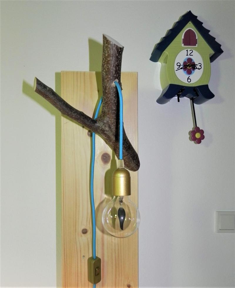 Kleinesbild - Ast Lampe Holz Holzlampe Wandlampe Baum Textilkabel Unikat