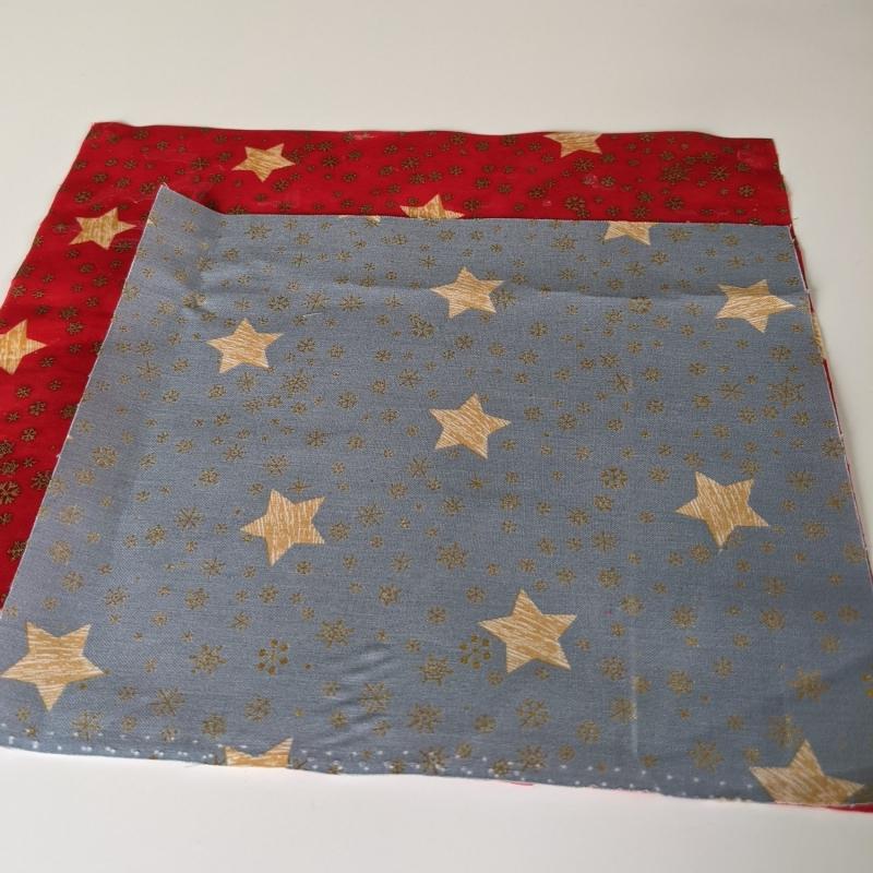Kleinesbild - Vegan Wachstuch Plastikfrei einpacken abdecken Aufbewahrung Geschenk Weihnachten Nicolaus Adventskalender  Sterne Schneeflocken rot gold graublau (Kopie id: 100251832)