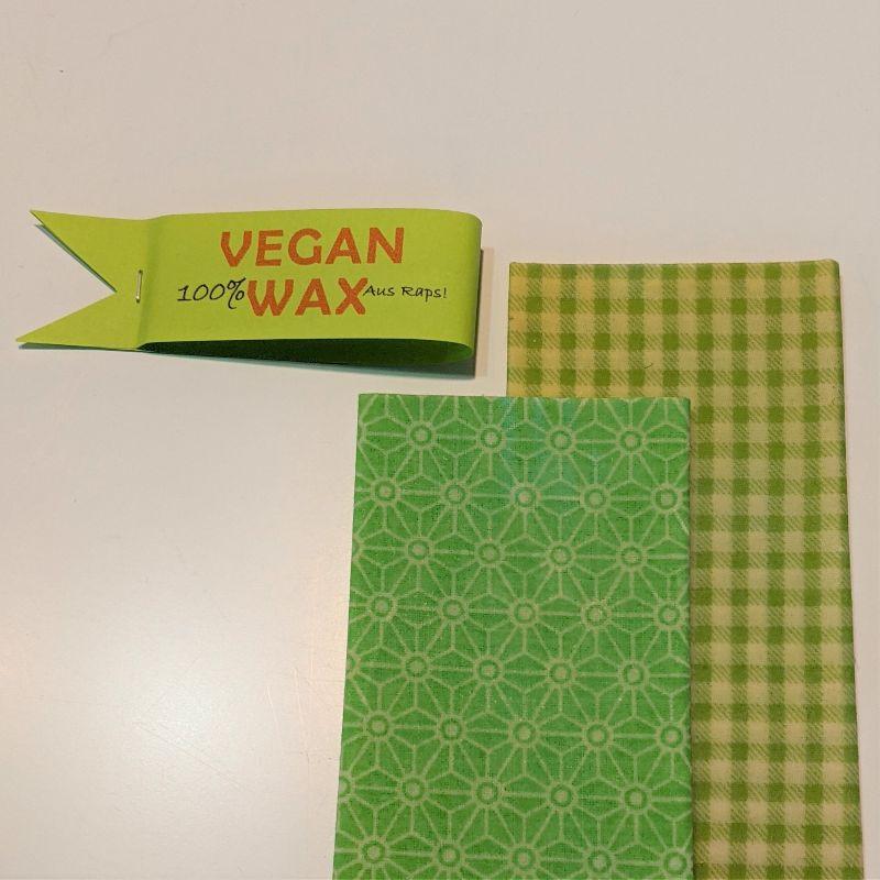 Kleinesbild - Vegan Wachstuch, plastikfrei, einpacken, abdecken, aufbewaren, Geschenk, Küche, Einzug, Baumwolle, Rapswachs, Kokosnussöl