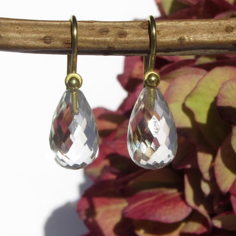 Kleinesbild - Einhänger Bergkristall-Tropfen und Gelbgold 750 für Ohrschmuck-Wechselsystem