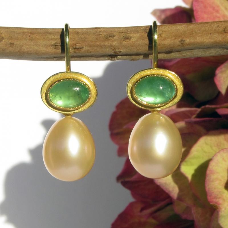 Kleinesbild - Einhänger Perltropfen und Gelbgold 750 für Ohrschmuck-Wechselsystem