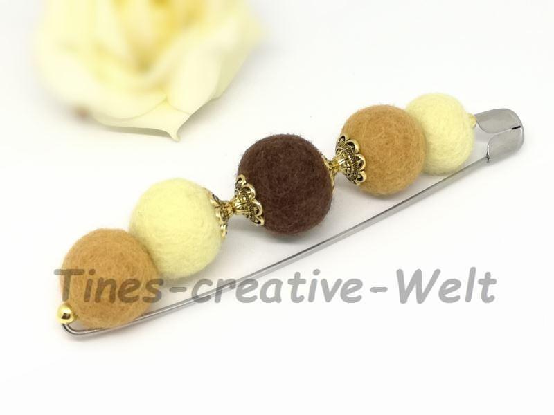 Kleinesbild - Filzbrosche aus gefilzter Schurwolle mit Filzkugeln