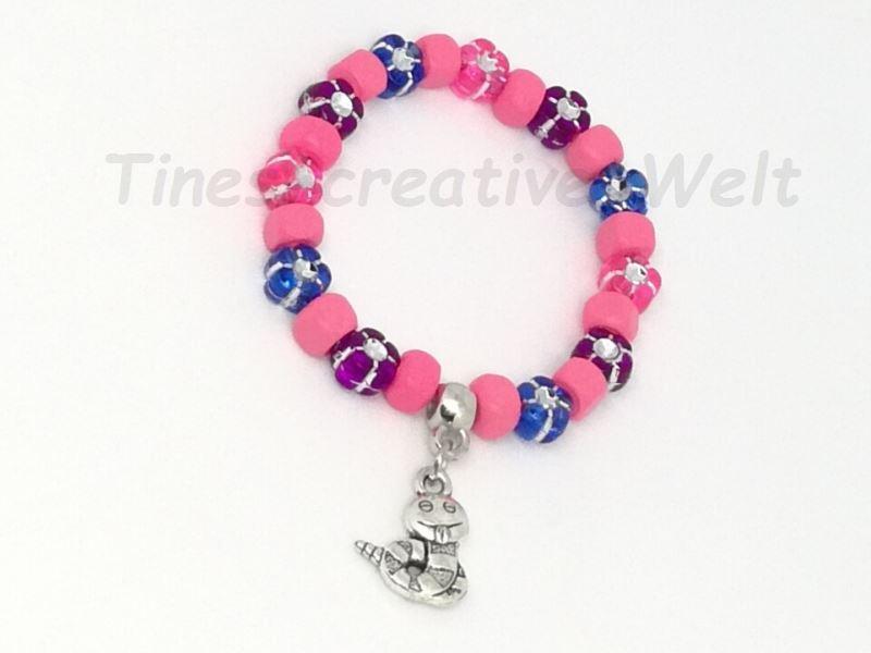 Kleinesbild - Kinder Armband freche Schlange Holzperlen Holz Strass Kinderarmband Tier Kind Geburtstag Geburtstagsgeschenk rosa blau