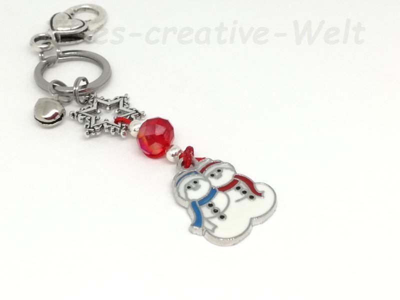 Kleinesbild - Schlüsselanhänger Schneemann, Taschenanhänger, Winter, Stern, Perle, Glöckchen, Wechselanhänger, Anhänger, rot