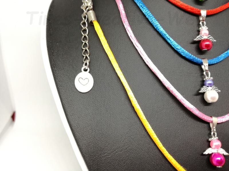 Kleinesbild - Kette mit Schutzengel mini, Ketten, Engel, Baumwolle, Baumwollkette, Fee, Schmuckkette, Herz, Glücksbringer, Geschenk, Kind