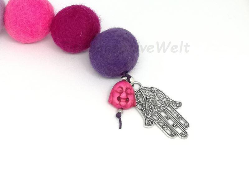Kleinesbild - Schlüsselanhänger, Taschenanhänger, Filzperlen, Filzkugeln, Buddha, Hand der Fatima, Wechselanhänger, Handschmeichler, XL Schlüsselanhänger