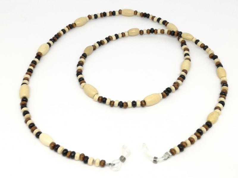 Kleinesbild - Brillenkette, Holzperlen, Holzkette, Perlen, Halsschmuck, Schmuck, Geschenk für Frauen und Männer