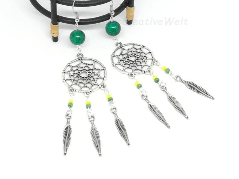 Kleinesbild - Ohrhänger Traumfänger mit Federn und Perlen, Hippie, Boho