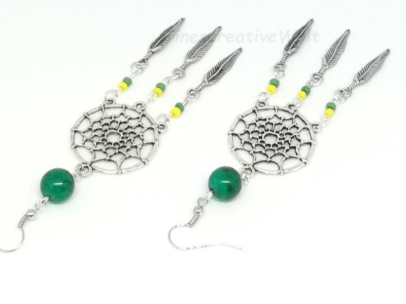 - Ohrhänger Traumfänger mit Federn und Perlen, Hippie, Boho   - Ohrhänger Traumfänger mit Federn und Perlen, Hippie, Boho