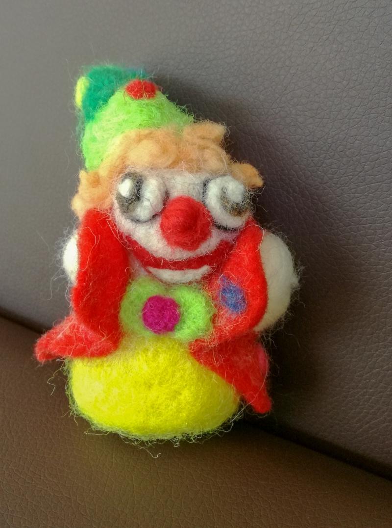 Kleinesbild - Charly der lustige Clown,mit der Nadel gefilzt, Handarbeit