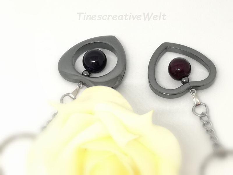 Kleinesbild - Taschenanhänger Herz aus Hämatit mit Achatperle, Halbedelstein, Gliederkette, Schlüsselanhänger, Anhänger, aubergine