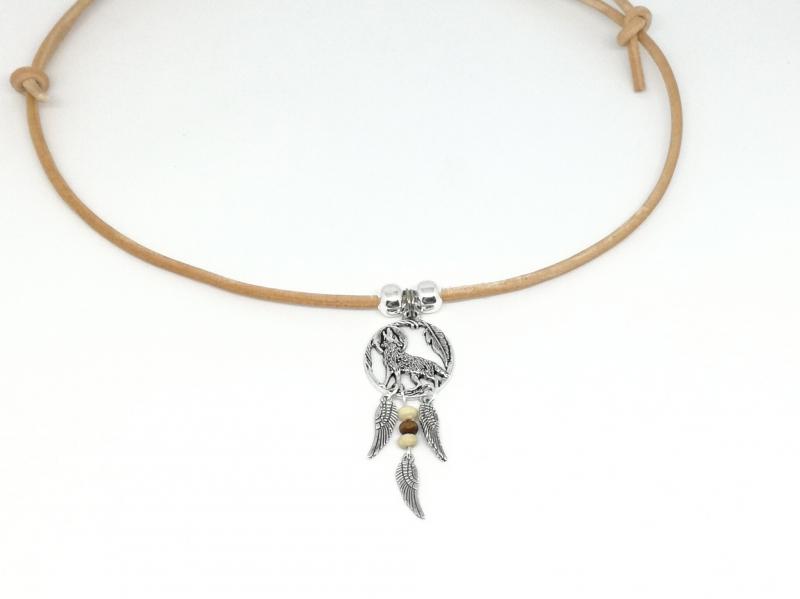 Kleinesbild - Lederkette mit Wolf und Mond, Lederband, Federn,  Männer, Männerschmuck, Geschenk für Männer, Boho