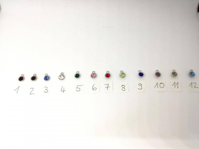 Kleinesbild - Creolen Geburtsstein, Ohrringe, versilbert, Strass, Geschenk für Frauen, Geburtstagsgeschenk