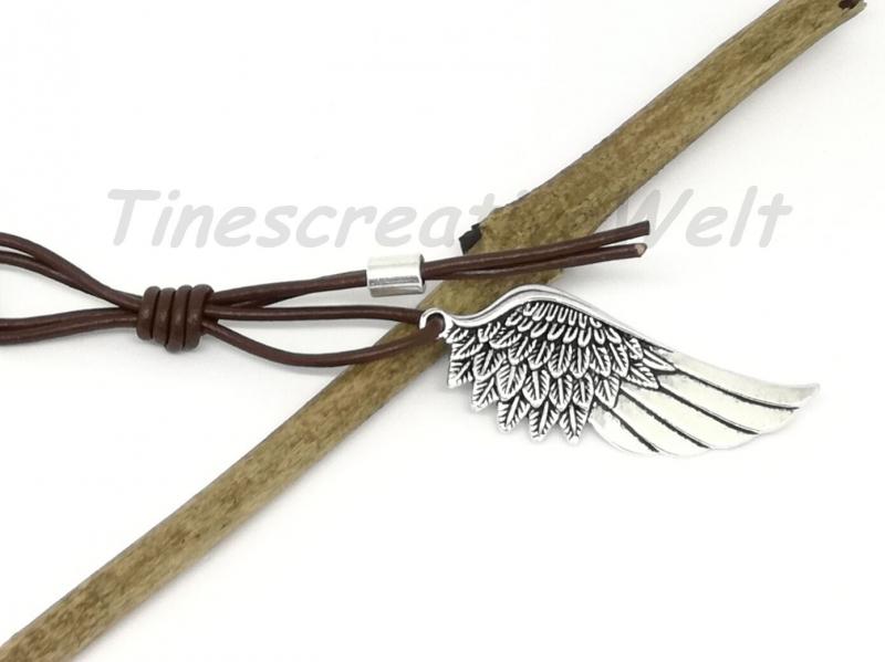 Kleinesbild - Schlüsselanhänger Engelsflügel Leder Lederband Flügel Feder Mann Taschenanhänger Wechelanhänger Anhänger Glücksbringer Geschenk für Männer