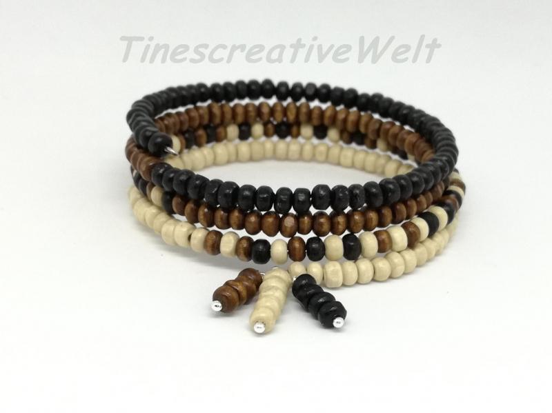 Kleinesbild - Armband mit Holzperlen, Holzschmuck, Holzarmband, Perlenarmband, Armband mehrreihig, Memory-Draht, Perlen, Geschenk, Geburtstag