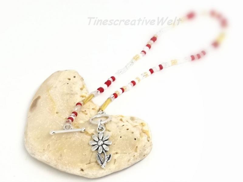 Kleinesbild - Fußkette, Fußkettchen, Glasperlen, Perlen, Anhänger, Urlaub, Strand, Knebelverschluss, Geschenk für Frauen