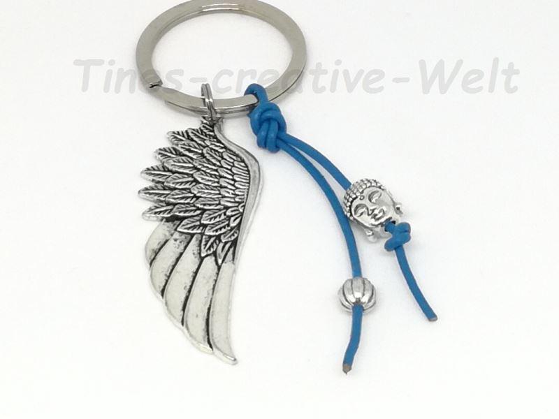 - Schlüsselanhänger Engelsflügel Boho Buddha Lederband Feder Taschenanhänger Wechselanhänger Anhänger blau - Schlüsselanhänger Engelsflügel Boho Buddha Lederband Feder Taschenanhänger Wechselanhänger Anhänger blau