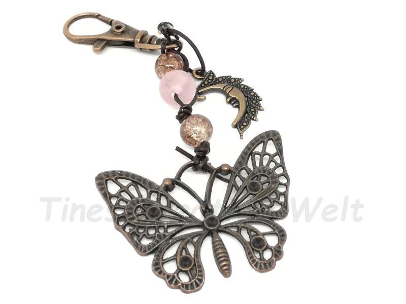 - Taschenanhänger, Schmetterling, Glasperlen, Mond, Schlüsselanhänger, Geschenk für Frauen - Taschenanhänger, Schmetterling, Glasperlen, Mond, Schlüsselanhänger, Geschenk für Frauen