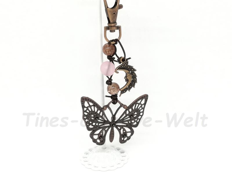 Kleinesbild - Taschenanhänger, Schmetterling, Glasperlen, Mond, Schlüsselanhänger, Geschenk für Frauen