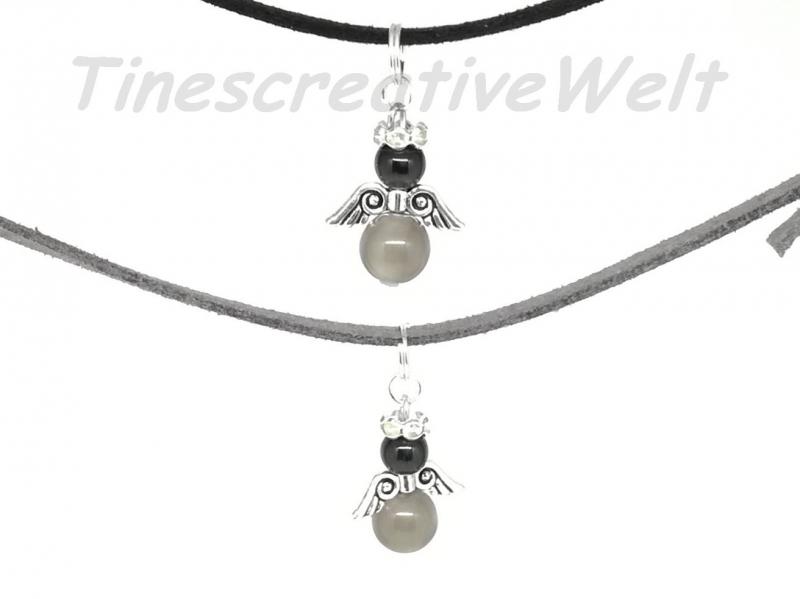 Kleinesbild - Kette Schutzengel, Velourband, Katzenaugenperlen ,  Schutzengelkette, Schmuckkette, Glücksbringer, Geschenk für Männer, Geschenk für Frauen