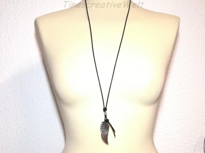 Kleinesbild - Lederkette Flügel, Engelsflügel, Boho, Feder, Indianerschmuck, Geschenk für Männer