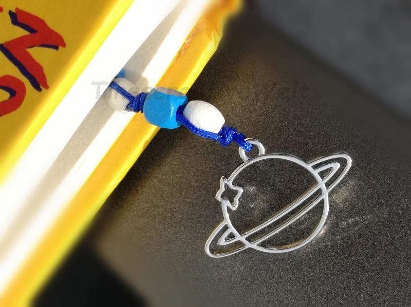 Kleinesbild - Lesezeichen Saturn mit Holzperlen, Bucheinleger, Lesezeichen Planet, Geschenk für Junge
