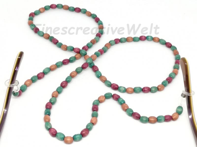 Kleinesbild - Brillenkette, Kette, Holzperlen, Holz, Holzkette, Perlen, Halsschmuck, Schmuck, Geschenk für Frauen, Geschenk für Männer