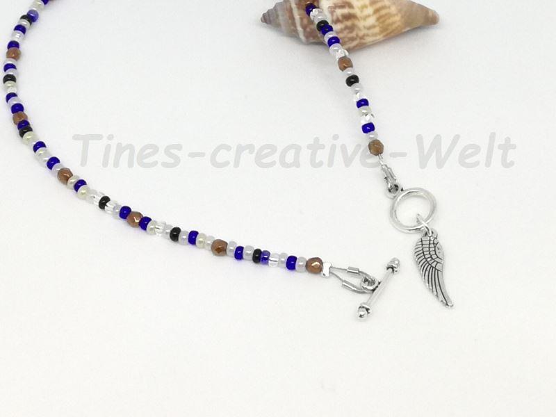 Kleinesbild - Fußkettchen mit Glasperlen auf Juwelierdraht aufgereiht, Geschenk für Frauen