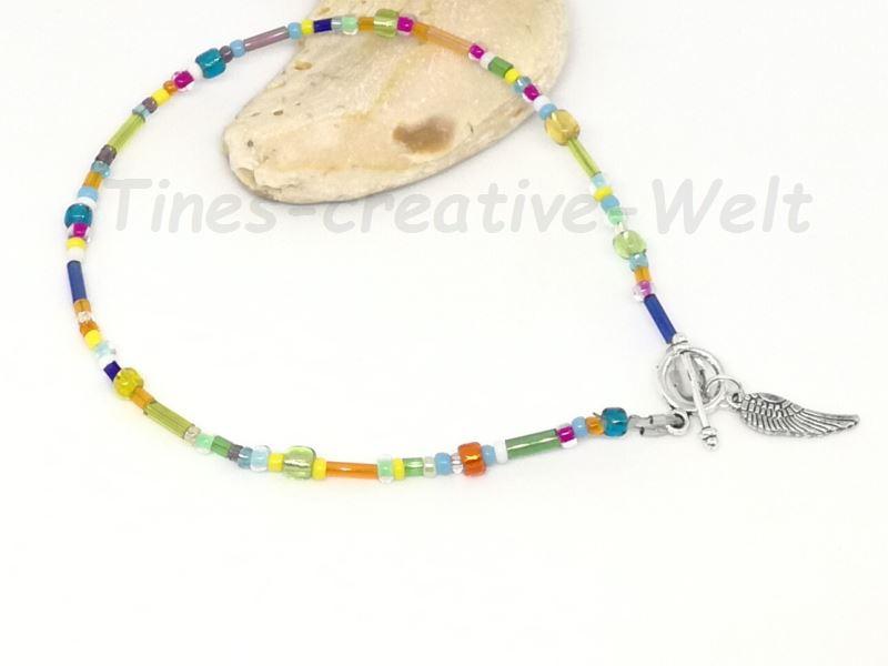 - Fußkettchen mit Glasperlen auf Juwelierdraht aufgereiht, Knebelverschluss, Geschenk für Frauen   - Fußkettchen mit Glasperlen auf Juwelierdraht aufgereiht, Knebelverschluss, Geschenk für Frauen