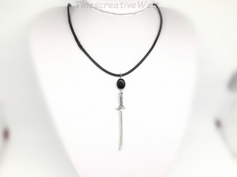 Kleinesbild - Kette Schwert, Kunstlederkette, Halskette, Ethno, Geschenk