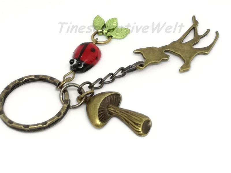 Kleinesbild - Schlüsselanhänger, Bronze, Reh, Marienkäfer, Pilz, Blätter, Anhänger, Taschenanhänger, Wechselanhänger