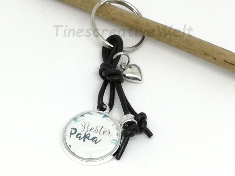 Kleinesbild - Schlüsselanhänger, Glascabochon, bester Papa, Geschenk