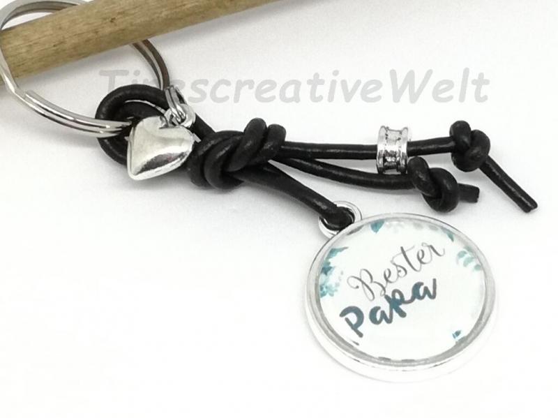 - Schlüsselanhänger, Glascabochon, bester Papa, Geschenk  - Schlüsselanhänger, Glascabochon, bester Papa, Geschenk