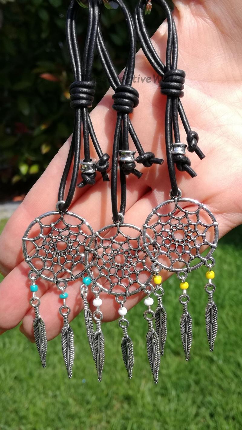 Kleinesbild - Schlüsselanhänger, Traumfänger, Leder, Boho, Taschenanhänger, Hippie, Geschenk Für Frauen und Männer