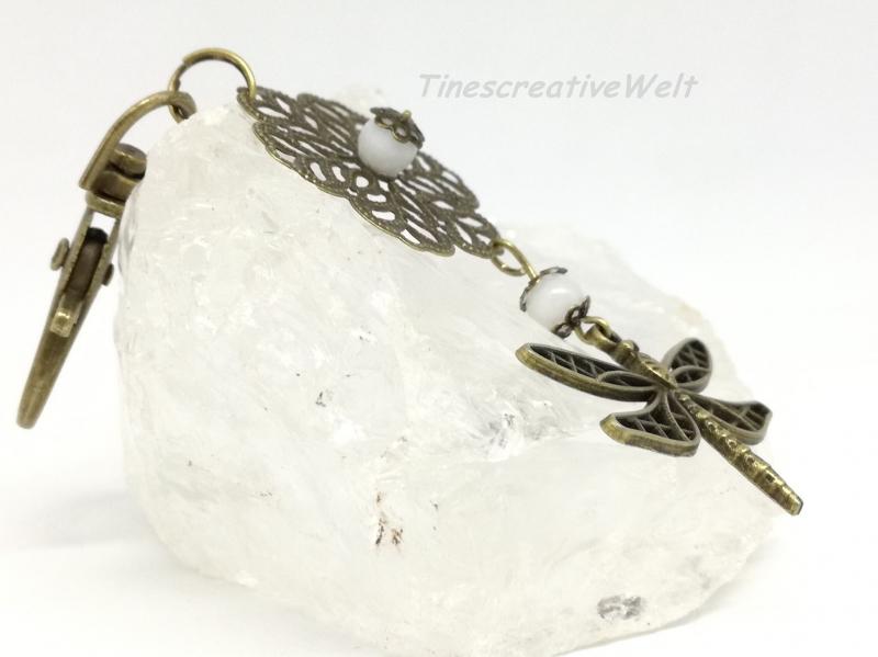Kleinesbild - Schlüsselanhänger, Libelle, Perlmutt Perle, Vintage Stil, Wechselanhänger