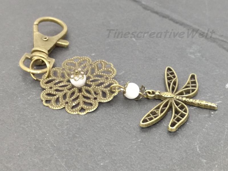 - Schlüsselanhänger, Libelle, Perlmutt Perle, Vintage Stil, Wechselanhänger - Schlüsselanhänger, Libelle, Perlmutt Perle, Vintage Stil, Wechselanhänger