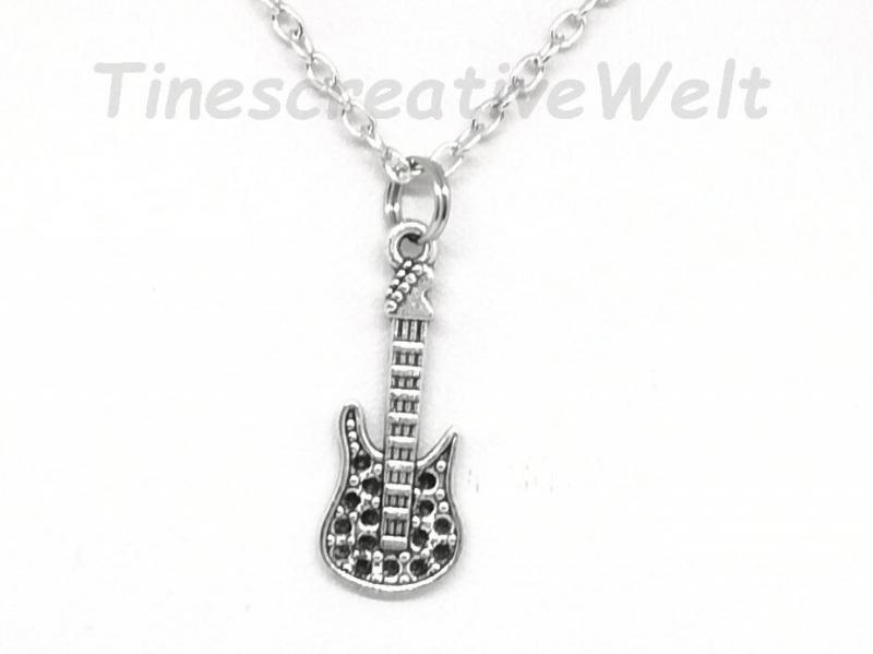 - Kette, E- Gitarre, Gliederkette mit Karabiner, Geschenk - Kette, E- Gitarre, Gliederkette mit Karabiner, Geschenk