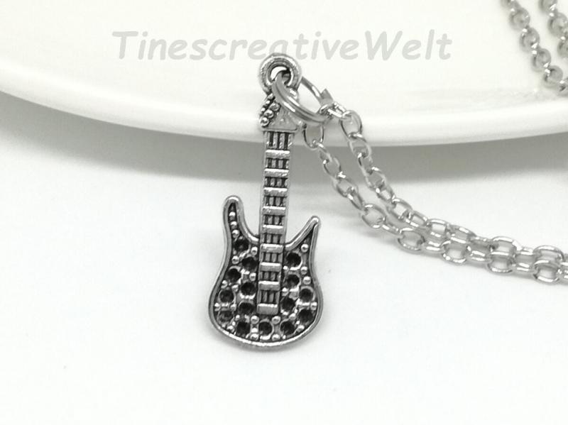 Kleinesbild - Kette, E- Gitarre, Gliederkette mit Karabiner, Geschenk